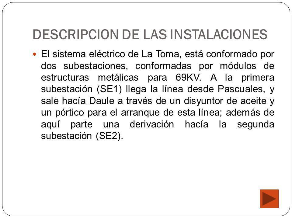 DESCRIPCION DE LAS INSTALACIONES El sistema eléctrico de La Toma, está conformado por dos subestaciones, conformadas por módulos de estructuras metáli