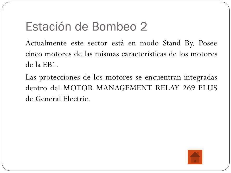 Estación de Bombeo 2 Actualmente este sector está en modo Stand By. Posee cinco motores de las mismas características de los motores de la EB1. Las pr