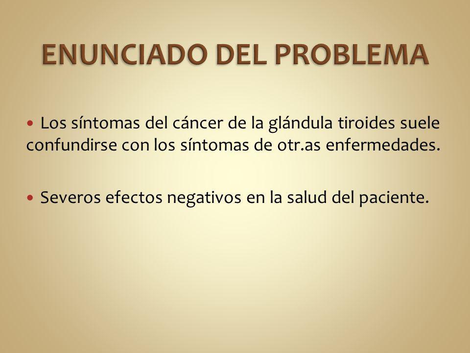 Los síntomas del cáncer de la glándula tiroides suele confundirse con los síntomas de otr.as enfermedades. Severos efectos negativos en la salud del p