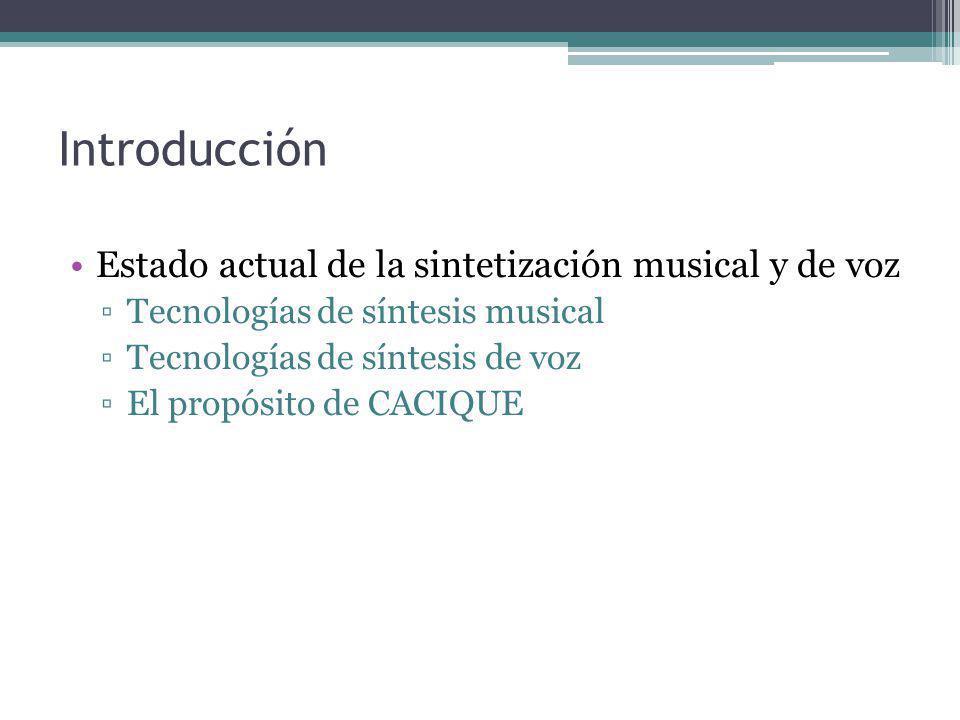 Tecnologías de síntesis musical Sintetizadores por Hardware Síntesis aditiva Síntesis substractiva Modulación de frecuencia Ejemplo: Los órganos musicales (usan el estándar MIDI) Sintetizadores por software(softsynth) Los emuladores(basados en algoritmos) Basados en muestras