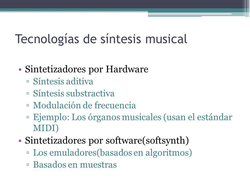 Tecnologías de síntesis musical Sintetizadores por Hardware Síntesis aditiva Síntesis substractiva Modulación de frecuencia Ejemplo: Los órganos music
