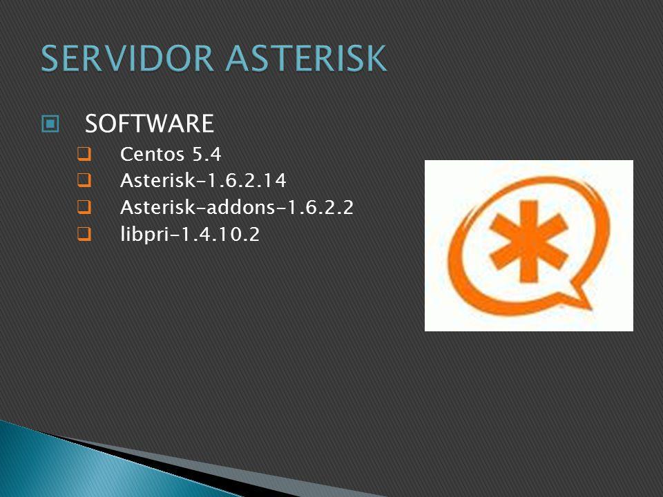 SOFTWARE Centos 5.4 Asterisk-1.6.2.14 Asterisk-addons-1.6.2.2 libpri-1.4.10.2