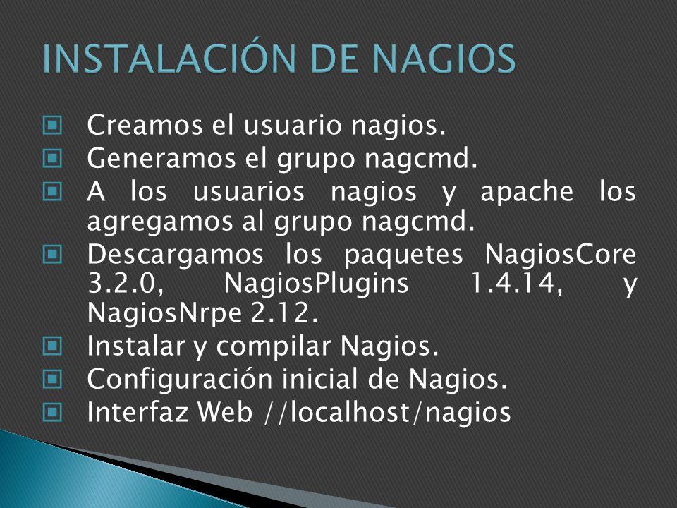 Creamos el usuario nagios. Generamos el grupo nagcmd. A los usuarios nagios y apache los agregamos al grupo nagcmd. Descargamos los paquetes NagiosCor