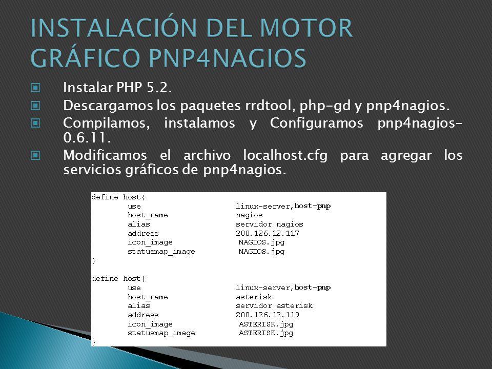 Instalar PHP 5.2. Descargamos los paquetes rrdtool, php-gd y pnp4nagios. Compilamos, instalamos y Configuramos pnp4nagios- 0.6.11. Modificamos el arch