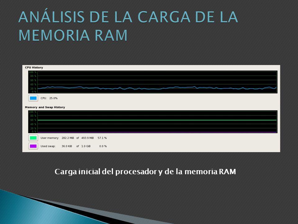 Carga inicial del procesador y de la memoria RAM
