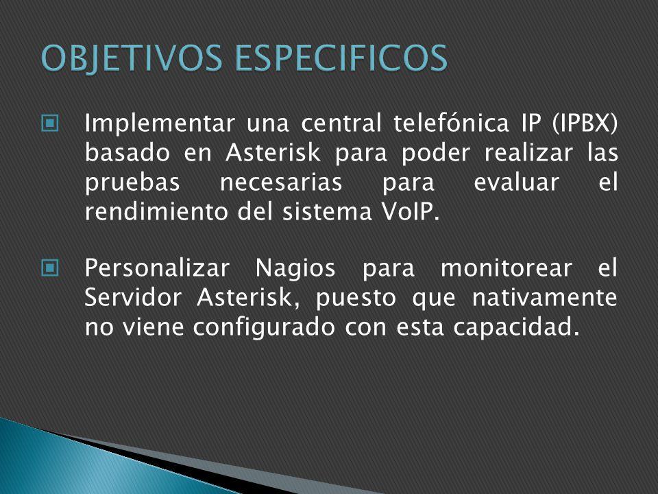 Implementar una central telefónica IP (IPBX) basado en Asterisk para poder realizar las pruebas necesarias para evaluar el rendimiento del sistema VoI