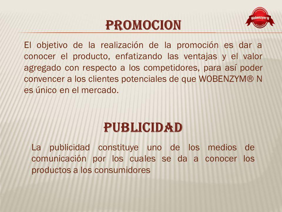PROMOCION El objetivo de la realización de la promoción es dar a conocer el producto, enfatizando las ventajas y el valor agregado con respecto a los competidores, para así poder convencer a los clientes potenciales de que WOBENZYM® N es único en el mercado.