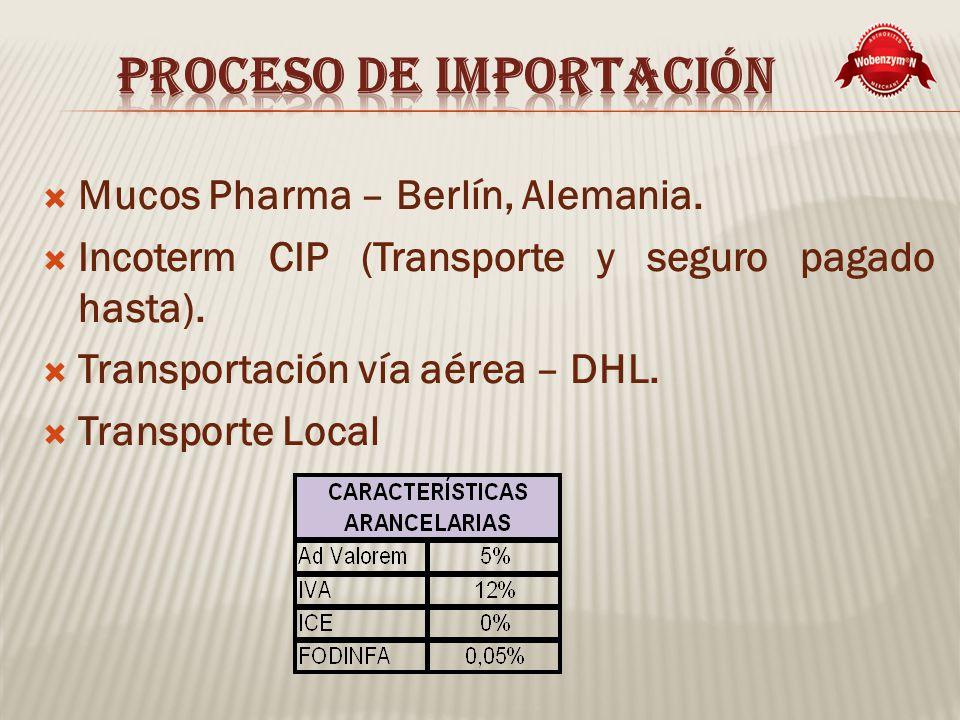 Mucos Pharma – Berlín, Alemania.Incoterm CIP (Transporte y seguro pagado hasta).
