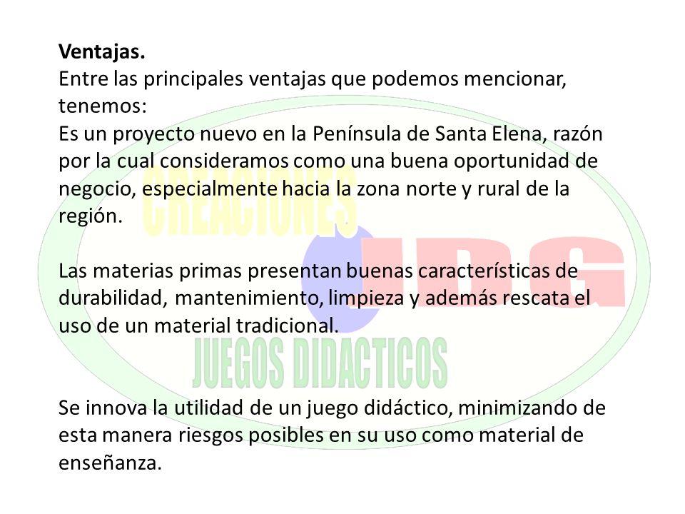 Ventajas. Entre las principales ventajas que podemos mencionar, tenemos: Es un proyecto nuevo en la Península de Santa Elena, razón por la cual consid