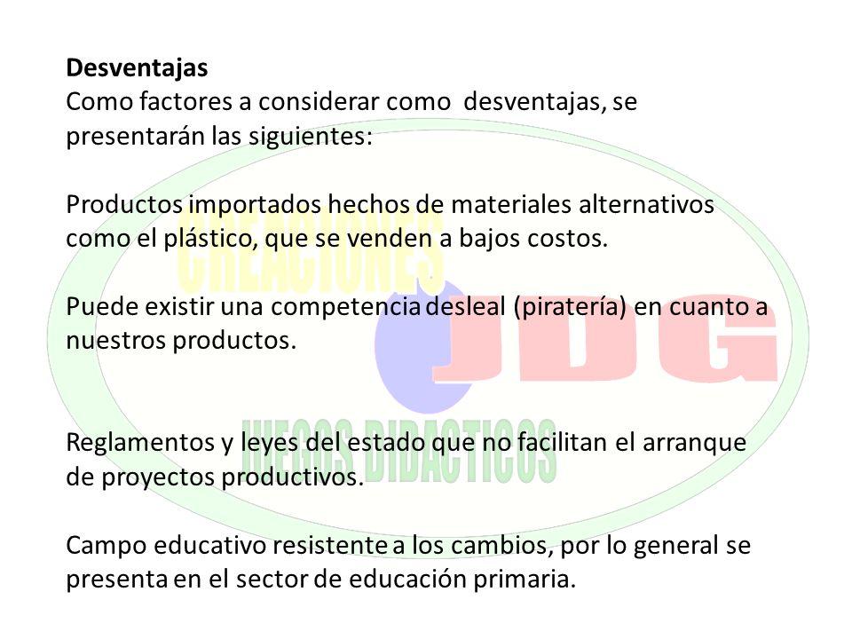 Desventajas Como factores a considerar como desventajas, se presentarán las siguientes: Productos importados hechos de materiales alternativos como el