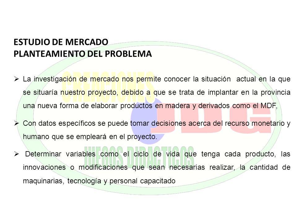 ESTUDIO DE MERCADO PLANTEAMIENTO DEL PROBLEMA La investigación de mercado nos permite conocer la situación actual en la que se situaría nuestro proyec