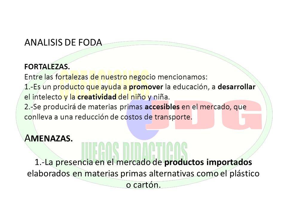 ANALISIS DE FODA FORTALEZAS. Entre las fortalezas de nuestro negocio mencionamos: 1.-Es un producto que ayuda a promover la educación, a desarrollar e