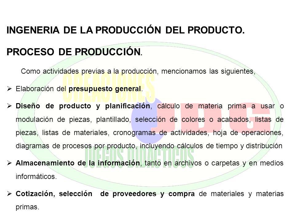 INGENERIA DE LA PRODUCCIÓN DEL PRODUCTO. PROCESO DE PRODUCCIÓN. Como actividades previas a la producción, mencionamos las siguientes, Elaboración del