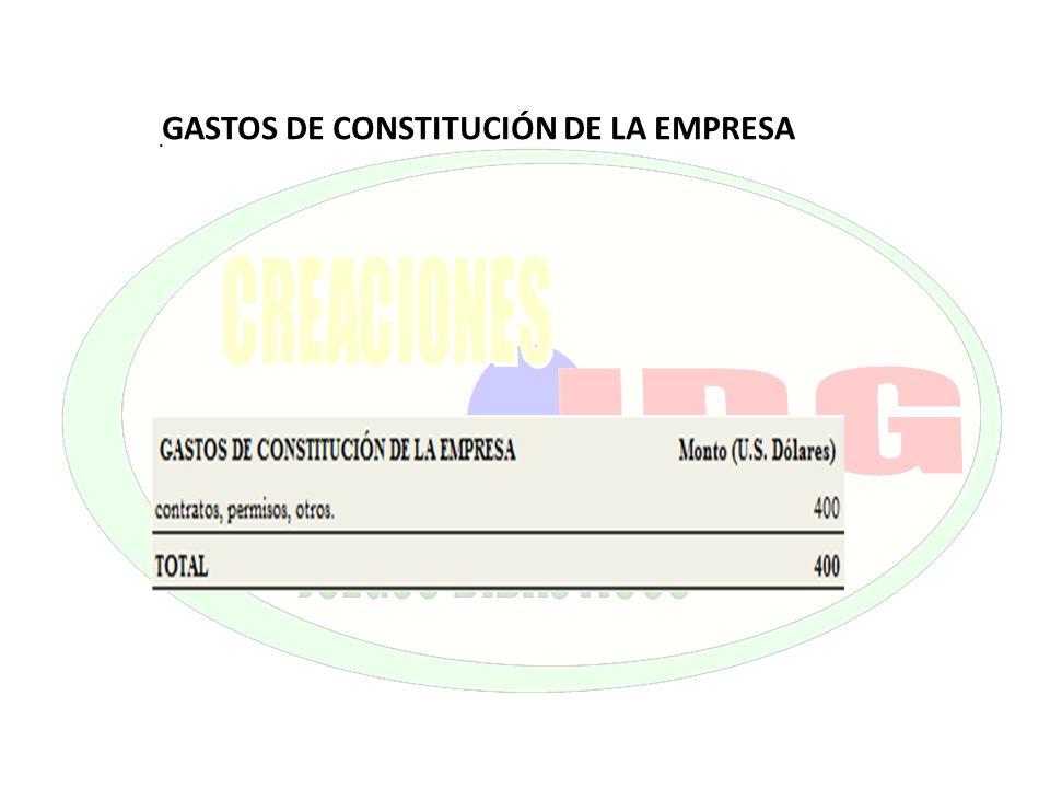 . GASTOS DE CONSTITUCIÓN DE LA EMPRESA