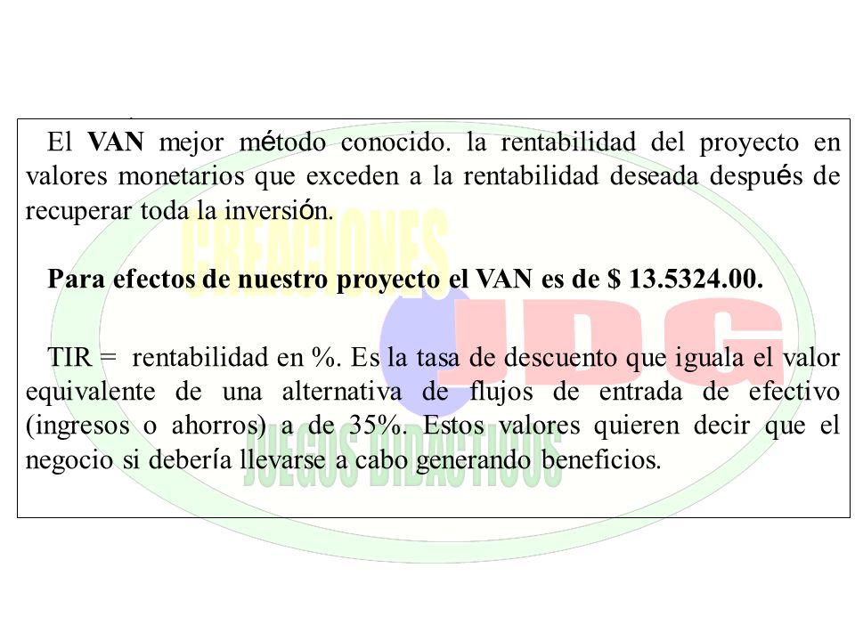 . El VAN mejor m é todo conocido. la rentabilidad del proyecto en valores monetarios que exceden a la rentabilidad deseada despu é s de recuperar toda