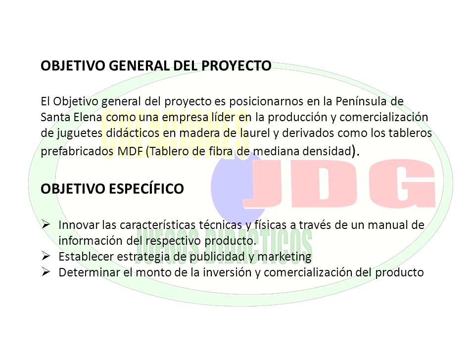 OBJETIVO GENERAL DEL PROYECTO El Objetivo general del proyecto es posicionarnos en la Península de Santa Elena como una empresa líder en la producción