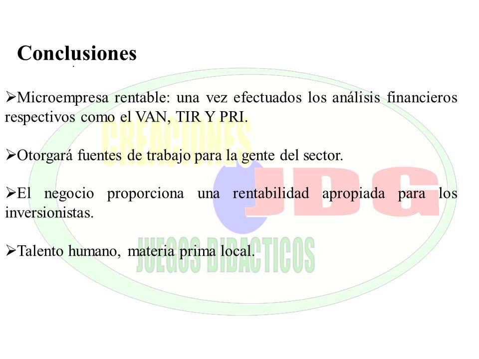. Conclusiones Microempresa rentable: una vez efectuados los análisis financieros respectivos como el VAN, TIR Y PRI. Otorgará fuentes de trabajo para