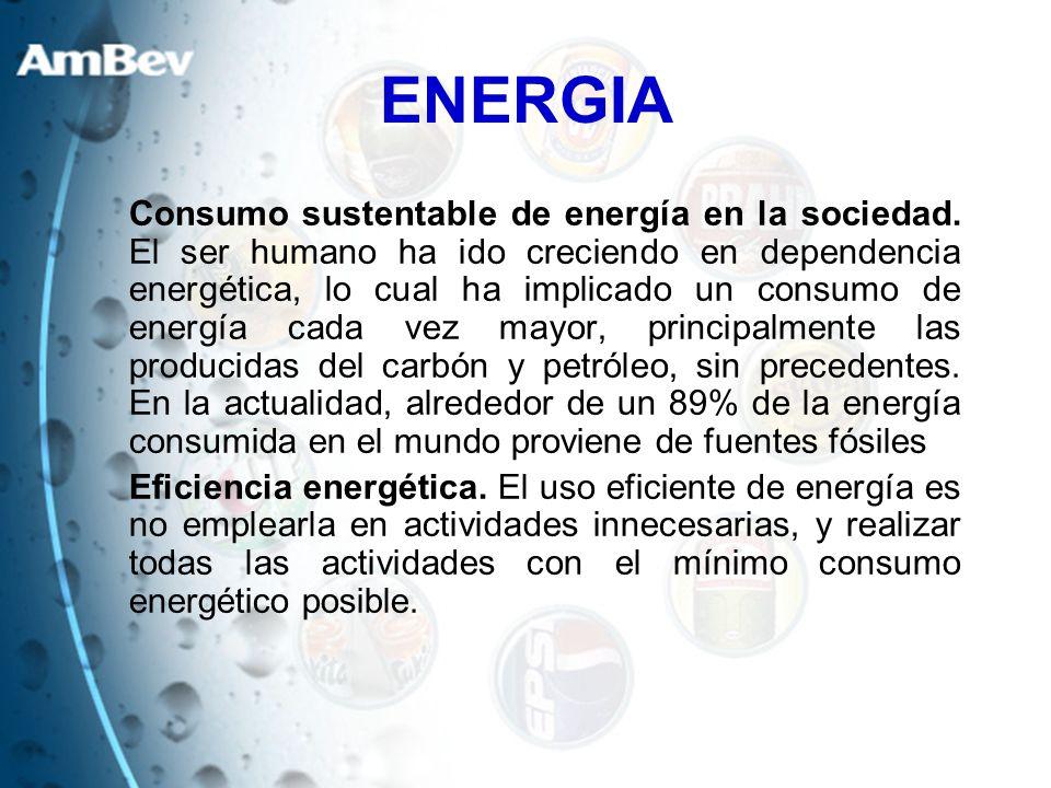 ENERGIA Consumo sustentable de energía en la sociedad. El ser humano ha ido creciendo en dependencia energética, lo cual ha implicado un consumo de en