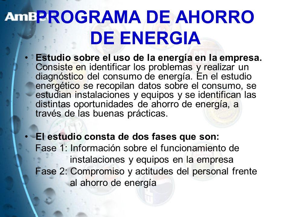 Estudio sobre el uso de la energía en la empresa. Consiste en identificar los problemas y realizar un diagnóstico del consumo de energía. En el estudi