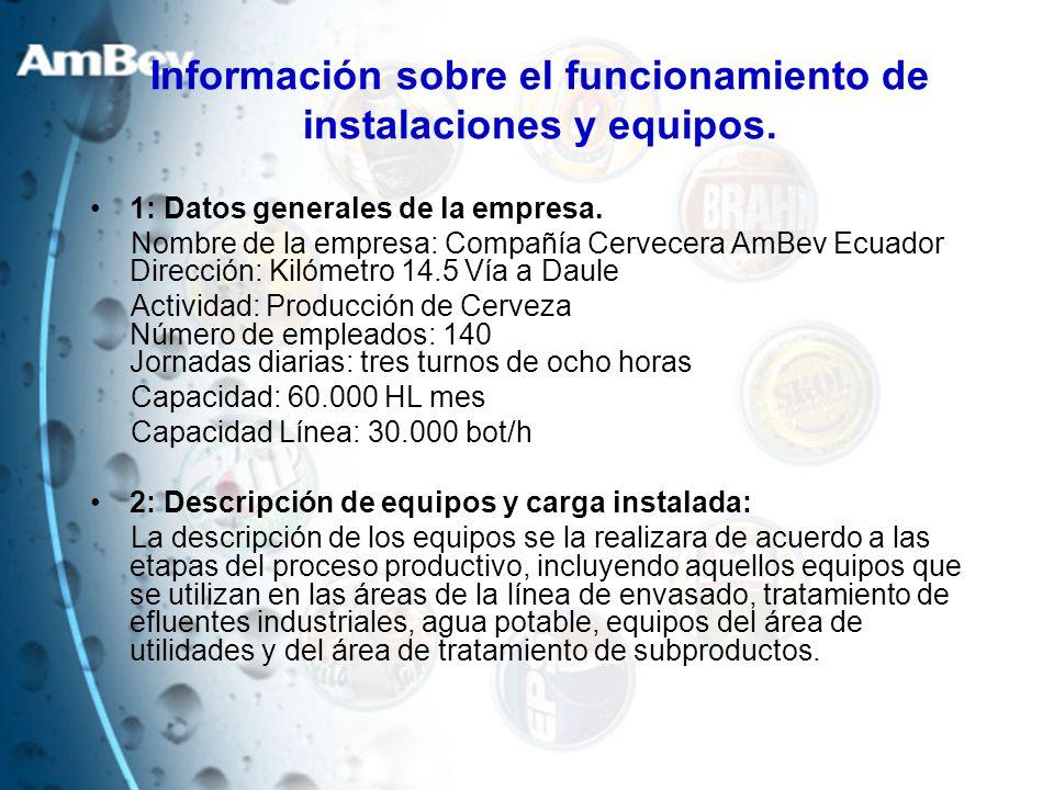 Información sobre el funcionamiento de instalaciones y equipos. 1: Datos generales de la empresa. Nombre de la empresa: Compañía Cervecera AmBev Ecuad