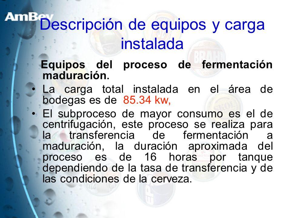 Equipos del proceso de fermentación maduración. La carga total instalada en el área de bodegas es de 85.34 kw, El subproceso de mayor consumo es el de