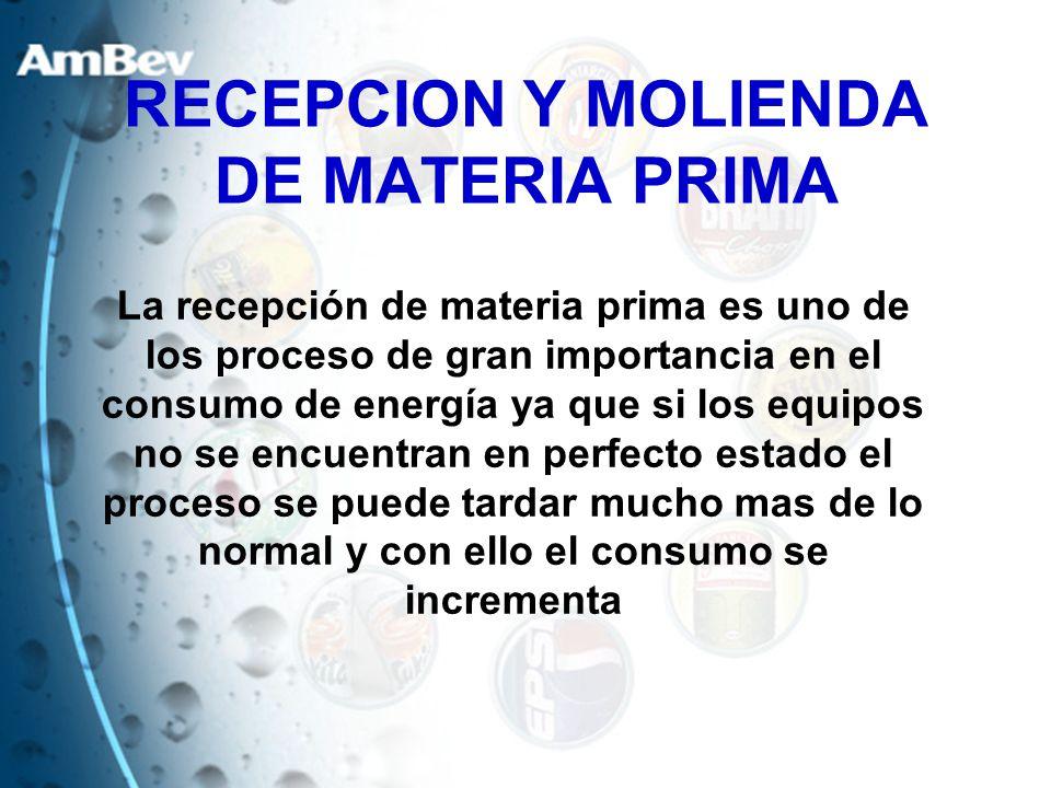 RECEPCION Y MOLIENDA DE MATERIA PRIMA La recepción de materia prima es uno de los proceso de gran importancia en el consumo de energía ya que si los e