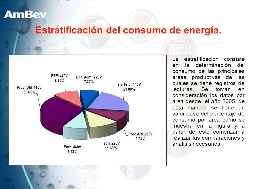 Estratificación del consumo de energía. La estratificación consiste en la determinación del consumo de las principales áreas productivas de las cuales