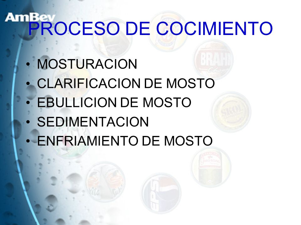 PROCESO DE COCIMIENTO MOSTURACION CLARIFICACION DE MOSTO EBULLICION DE MOSTO SEDIMENTACION ENFRIAMIENTO DE MOSTO