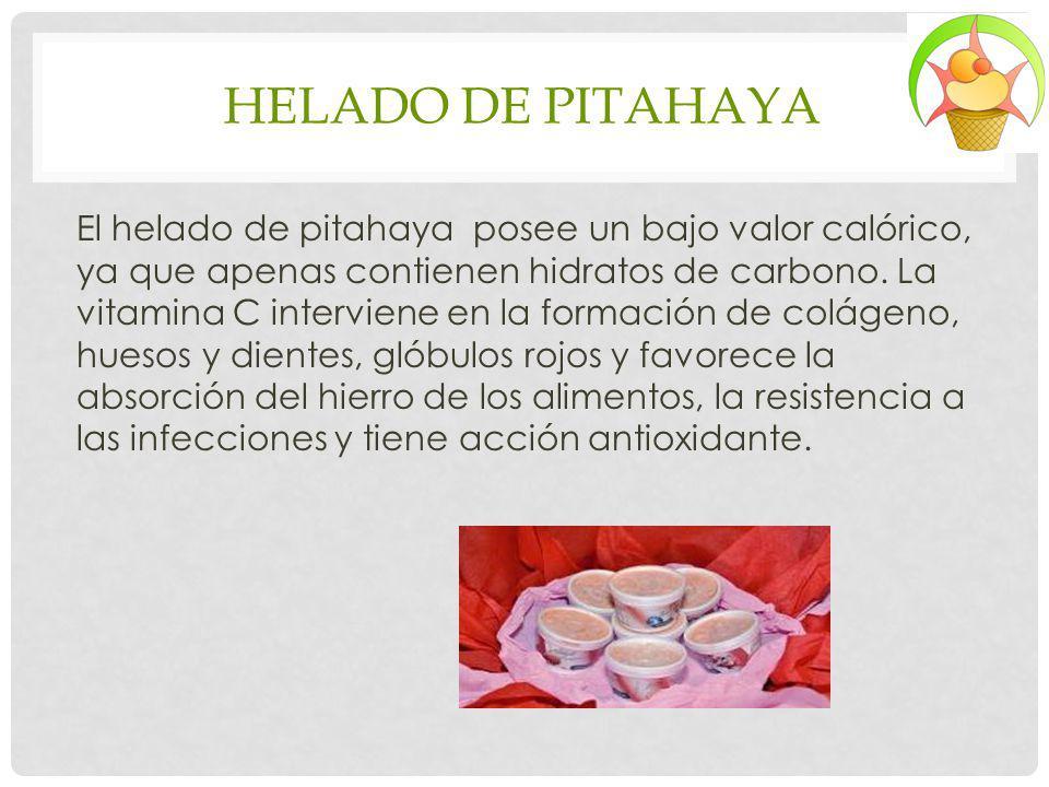 HELADO DE PITAHAYA El helado de pitahaya posee un bajo valor calórico, ya que apenas contienen hidratos de carbono. La vitamina C interviene en la for