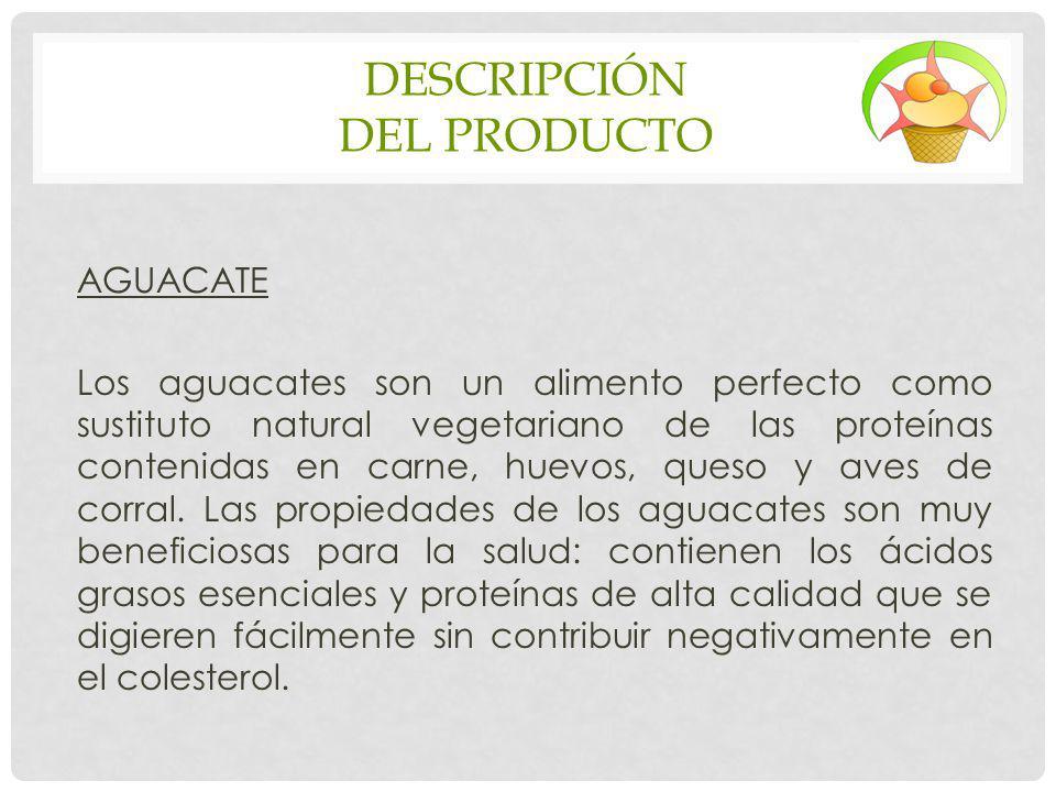 DESCRIPCIÓN DEL PRODUCTO AGUACATE Los aguacates son un alimento perfecto como sustituto natural vegetariano de las proteínas contenidas en carne, huev