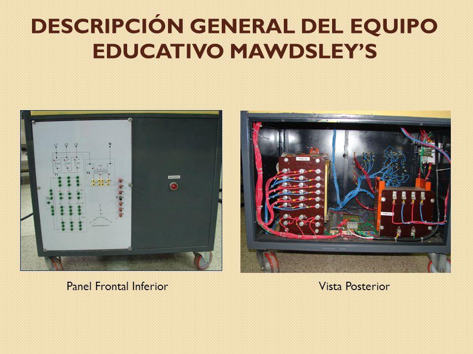 DESCRIPCIÓN GENERAL DEL EQUIPO EDUCATIVO MAWDSLEYS Panel Frontal InferiorVista Posterior