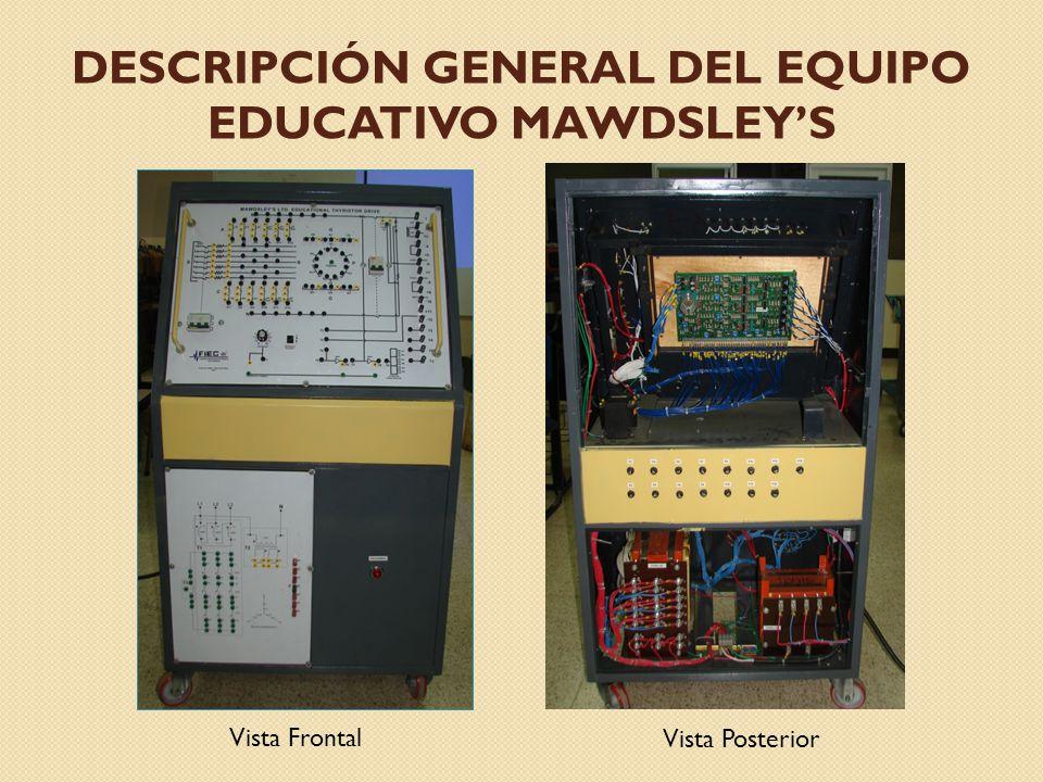 DESCRIPCIÓN GENERAL DEL EQUIPO EDUCATIVO MAWDSLEYS Vista Frontal Vista Posterior