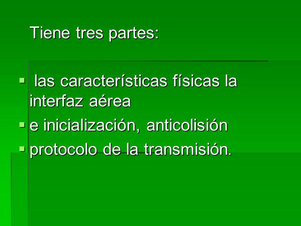 Tiene tres partes: las características físicas la interfaz aérea las características físicas la interfaz aérea e inicialización, anticolisión e inicialización, anticolisión protocolo de la transmisión.