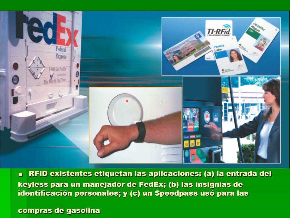 . RFID existentes etiquetan las aplicaciones: (a) la entrada del keyless para un manejador de FedEx; (b) las insignias de identificación personales; y (c) un Speedpass usó para las compras de gasolina