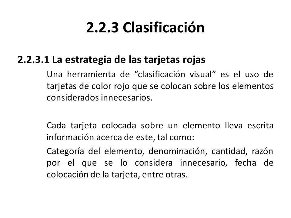 2.2.3.1 La estrategia de las tarjetas rojas Una herramienta de clasificación visual es el uso de tarjetas de color rojo que se colocan sobre los eleme