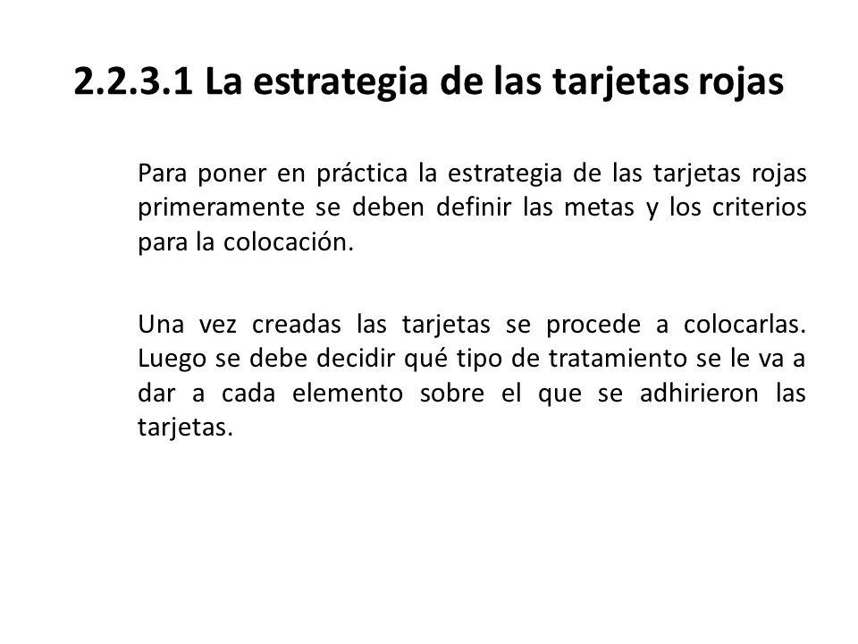 2.2.3.1 La estrategia de las tarjetas rojas Para poner en práctica la estrategia de las tarjetas rojas primeramente se deben definir las metas y los c