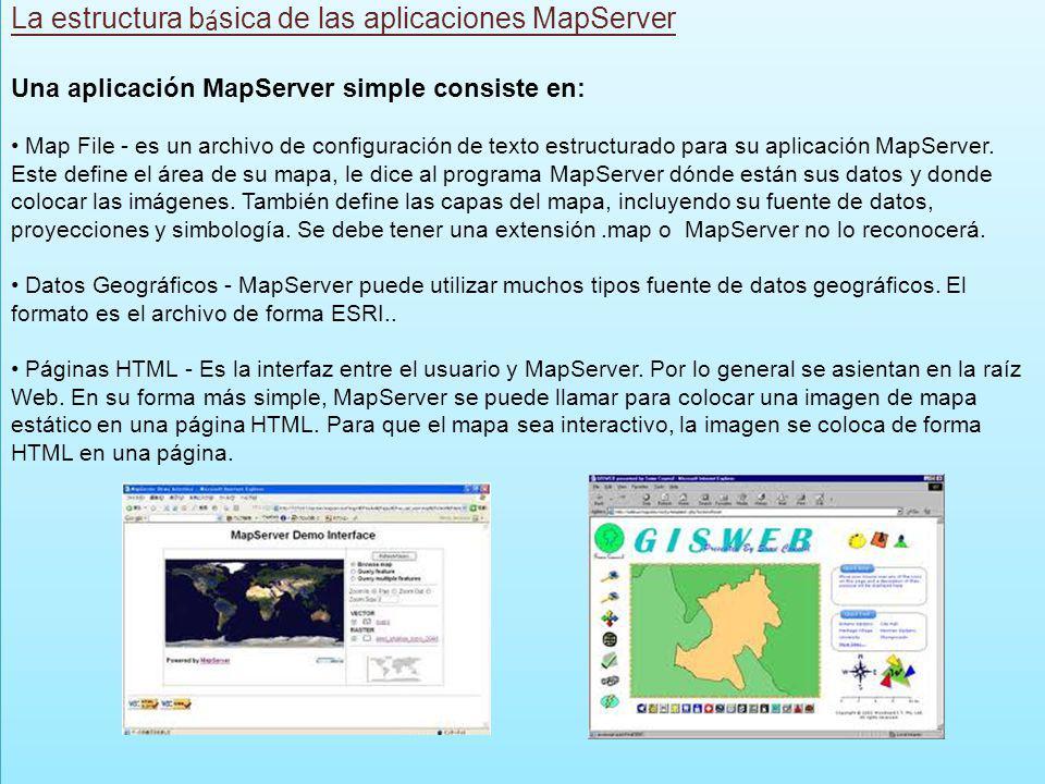 La estructura b á sica de las aplicaciones MapServer Una aplicación MapServer simple consiste en: Map File - es un archivo de configuración de texto e