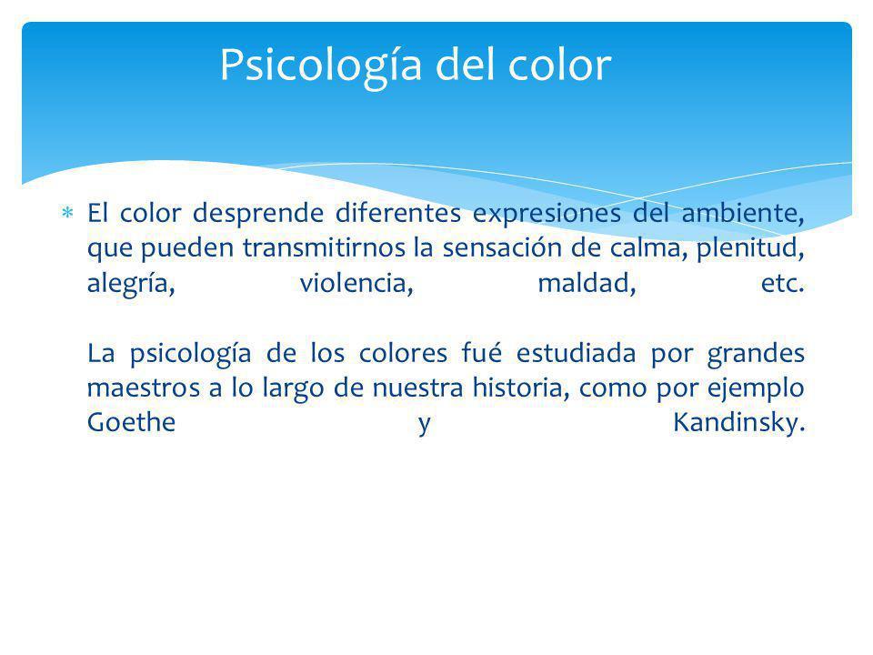 El color desprende diferentes expresiones del ambiente, que pueden transmitirnos la sensación de calma, plenitud, alegría, violencia, maldad, etc. La