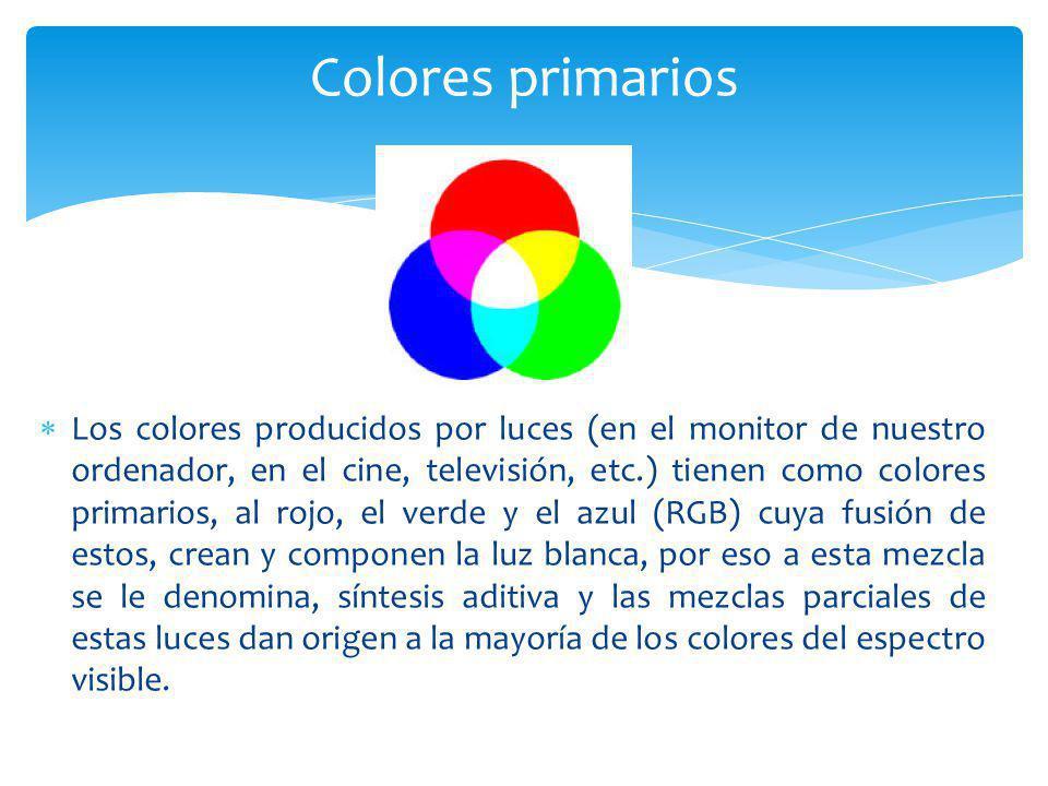 Los colores producidos por luces (en el monitor de nuestro ordenador, en el cine, televisión, etc.) tienen como colores primarios, al rojo, el verde y