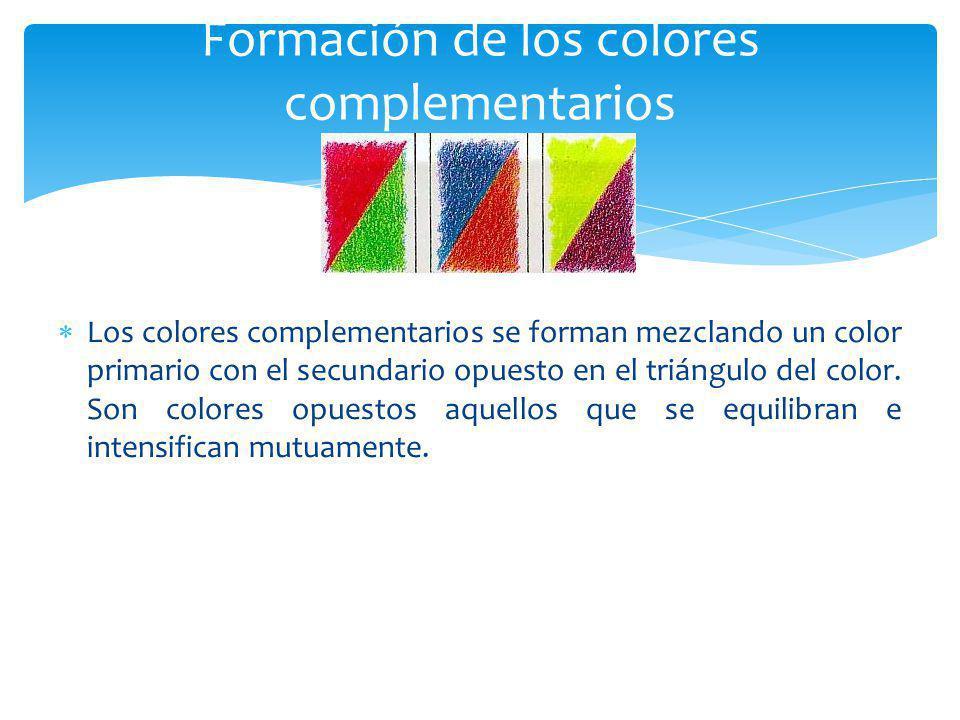 Los colores complementarios se forman mezclando un color primario con el secundario opuesto en el triángulo del color. Son colores opuestos aquellos q