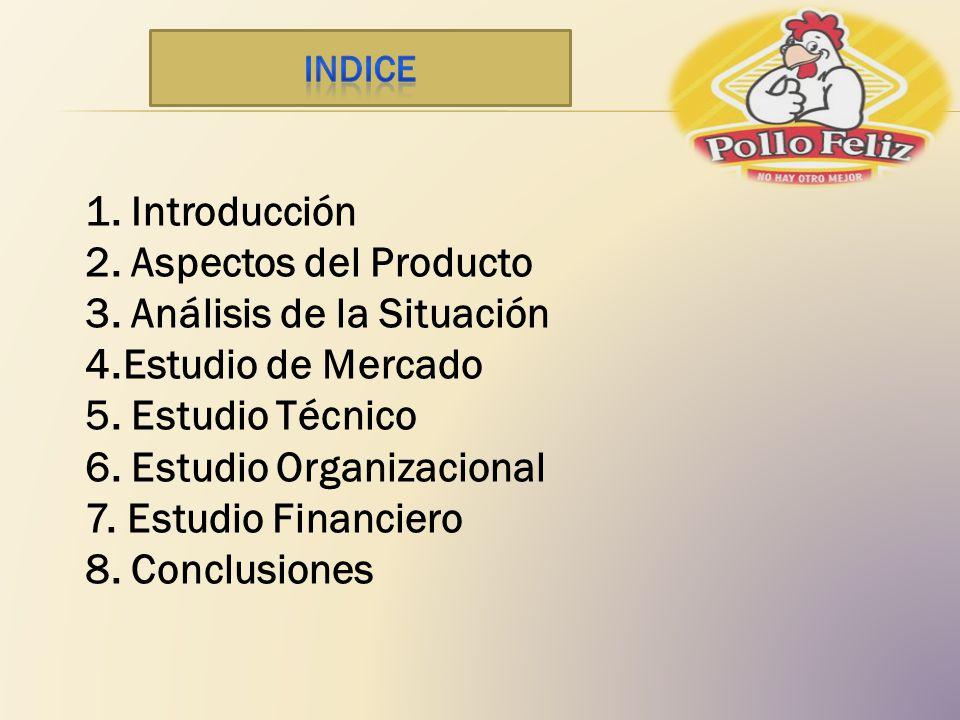 1. Introducción 2. Aspectos del Producto 3. Análisis de la Situación 4.Estudio de Mercado 5. Estudio Técnico 6. Estudio Organizacional 7. Estudio Fina