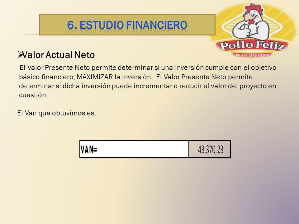 Valor Actual Neto El Valor Presente Neto permite determinar si una inversión cumple con el objetivo básico financiero; MAXIMIZAR la inversión. El Valo