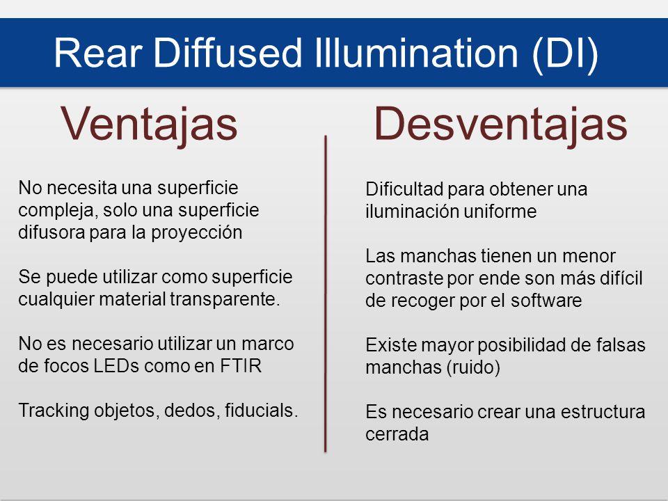 Rear Diffused Illumination (DI) VentajasDesventajas No necesita una superficie compleja, solo una superficie difusora para la proyección Se puede utilizar como superficie cualquier material transparente.