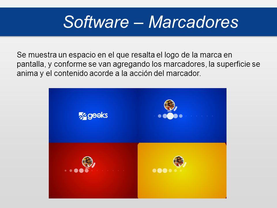 Software – Marcadores Se muestra un espacio en el que resalta el logo de la marca en pantalla, y conforme se van agregando los marcadores, la superficie se anima y el contenido acorde a la acción del marcador.
