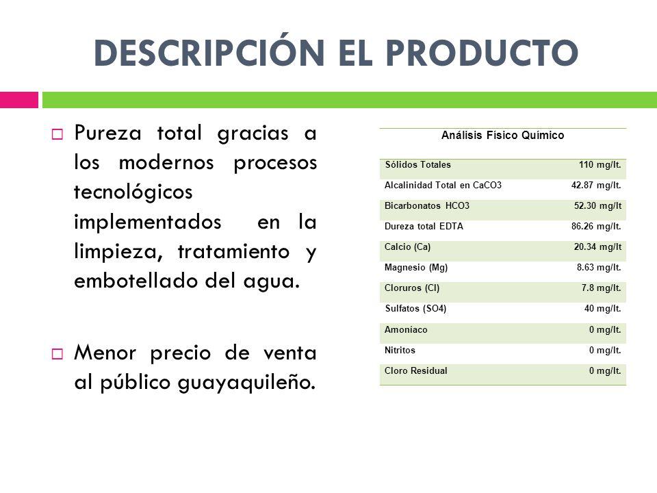 DESCRIPCIÓN EL PRODUCTO Pureza total gracias a los modernos procesos tecnológicos implementados en la limpieza, tratamiento y embotellado del agua.