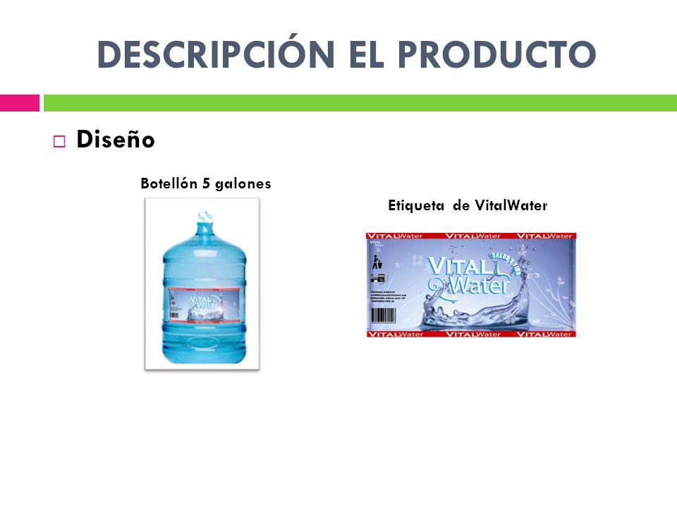 DESCRIPCIÓN EL PRODUCTO Diseño Botellón 5 galones Etiqueta de VitalWater