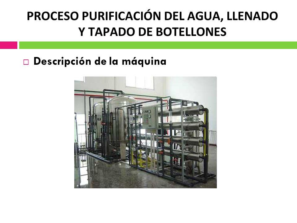PROCESO PURIFICACIÓN DEL AGUA, LLENADO Y TAPADO DE BOTELLONES Descripción de la máquina