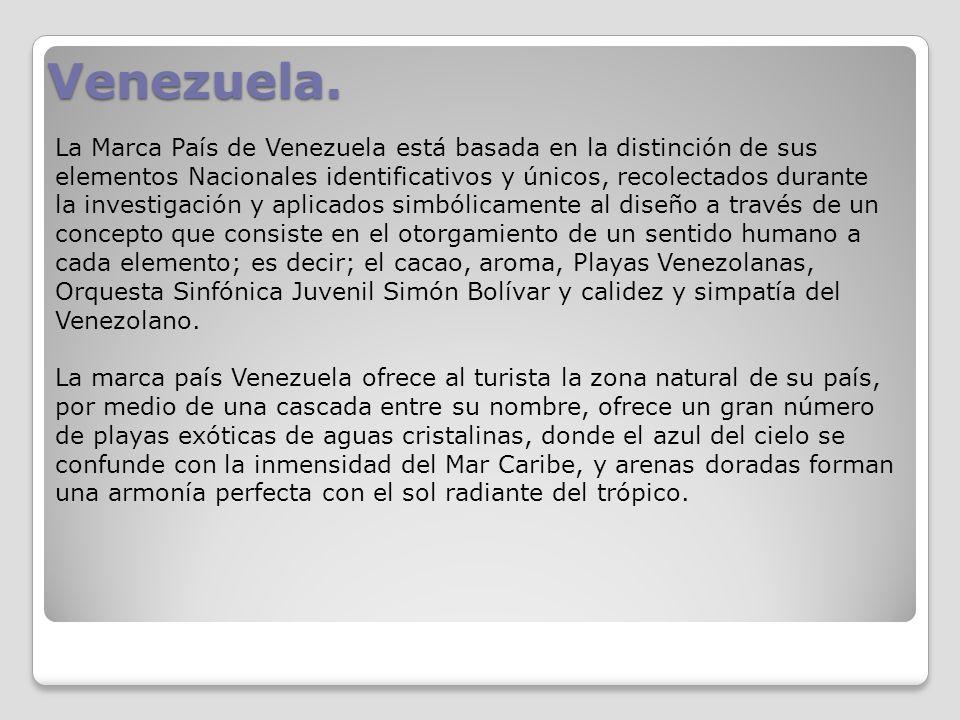 Venezuela. La Marca País de Venezuela está basada en la distinción de sus elementos Nacionales identificativos y únicos, recolectados durante la inves