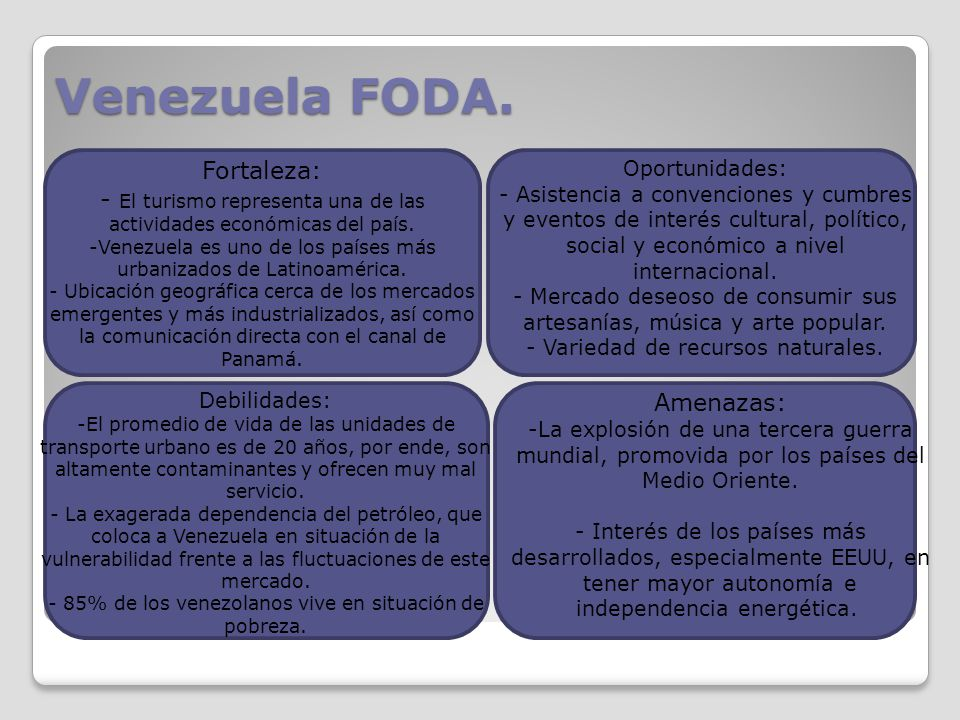 Venezuela FODA. Fortaleza: - El turismo representa una de las actividades económicas del país. -Venezuela es uno de los países más urbanizados de Lati