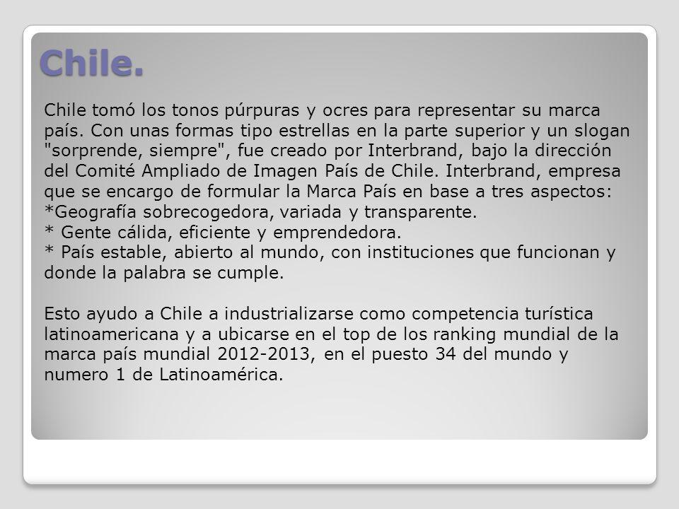 Chile. Chile tomó los tonos púrpuras y ocres para representar su marca país. Con unas formas tipo estrellas en la parte superior y un slogan